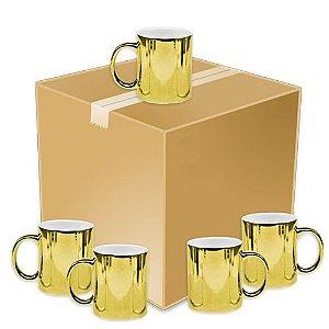 Caneca Cerâmica Cromada Dourada P/Sublimação 325ml ShopVirtua3000® (1978) - 36 Unidades