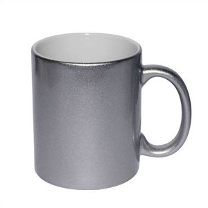 Caneca Cerâmica Prateada Metalizada 325ml Resinada P/ Sublimação (B042) - 01 Unidade