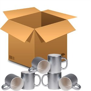 Caneca Cerâmica Prateada Metalizada 325ml Resinada P/ Sublimação (B042) - 36 Unidades (Caixa Fechada)