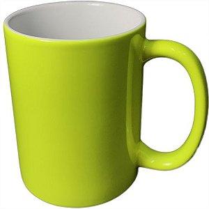 Caneca Cerâmica Neon Amarelo Externa P/Sublimação 325ml (B142) - 01 Unidade