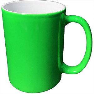 Caneca Cerâmica Neon Verde Claro Externa P/Sublimação 325ml (B141) - 01 Unidade