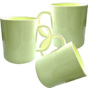 Caneca Verde Limão Polímero Robusta 350ml P/Sublimação, Transfer Laser, Silk Screen e Adesivação - 36 Unidades