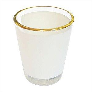 Copinho Tequila Cônico 42ml de Vidro Resinado Com Borda Dourada P/Sublimação (B044) - 01 Unidade