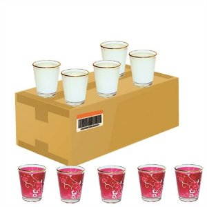 Copinho Tequila Cônico 42ml de Vidro Resinado Com Borda Dourada P/Sublimação (B044) - 12 Unidades (Caixa Fechada)