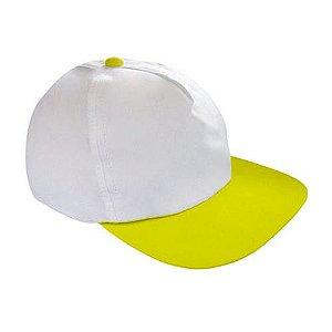 Boné Americano Cabeça Branca para Sublimação e Aba Amarela em Microfibra Adulto (157)
