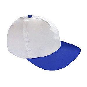 Boné Americano Cabeça Branca para Sublimação e Aba Azul Royal em Microfibra Adulto (157)