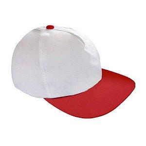 Boné Americano Cabeça Branca para Sublimação e Aba Vermelha em Microfibra Adulto (157)