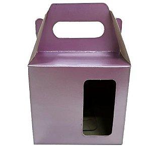 Caixa P/ Caneca Cerâmica Lilás Metálico C/ Janela Sublimavel 325 ml (PH009) - 100 Unidades
