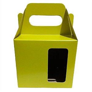 Caixa Verde Limão Com Brilho, Com Alça e Com Janela Para Embalar Caneca de 325ml (PH006) - 50 Unidades