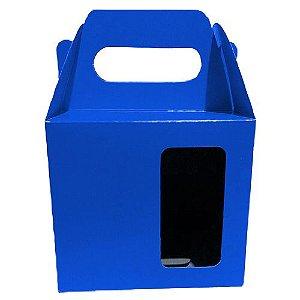 Caixinha para Caneca Azul Com Visor e Alça Reforçada Em Papel Duplex 275g 10cm x 10cm para Canecas ou Artigos Diversos (AL3007) - Pacote Lacrado com 10 Unidades