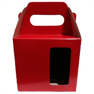 Caixinha para Caneca Vermelho Com Visor e Alça Reforçada Em Papel Duplex 275g 10cm x 10cm para Canecas ou Artigos Diversos (AL3009) - 100 Unidades