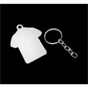 Chaveiro Formato Camiseta de Metal Branco Resinado para Sublimação - Pacote Com 05 Unidades (AL6002)