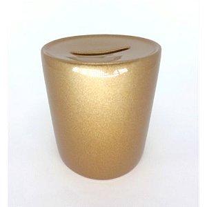 Cofrinho de Moedas Cerâmica Dourado Resinada P/ Sublimação (B131) - 01 Unidade