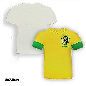 Imã de Geladeira Camisa 8x7,5cm em Mdf 3mm Branco Resinado para Sublimação Ultra Brilho (PH1100) - 01 Unidade