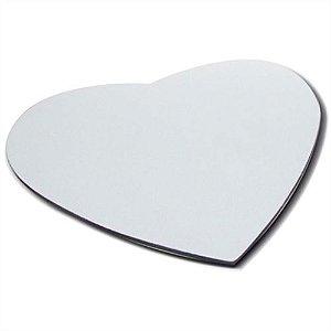 Mouse Pad Extra Branco Coração 21x23cm P/Sublimação Com Base Em Neoprene Preto de 3mm Antiderrapante - Pacote à Vácuo Com 10 Unidades (AL8002)