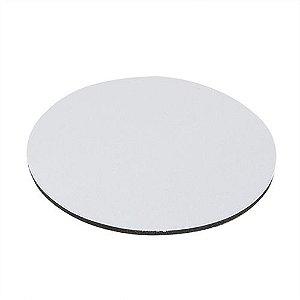 Mouse Pad Extra Branco Redondo 20x20cm P/Sublimação Com Base Em Latex Preto de 3mm Antiderrapante - Pacote à Vácuo Com 10 Unidades (AL8004)