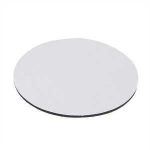 Mouse Pad Extra Branco Redondo 20x20cm P/Sublimação Com Base Em Neoprene Preto de 3mm Antiderrapante - Pacote à Vácuo Com 10 Unidades (AL8005)