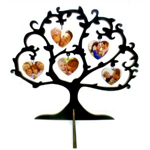 Árvore Amor com 5 Corações em Mdf 6mm Branco Resinado para Sublimação Ultra Brilho 30cm (PH1307) - 01 Unidade