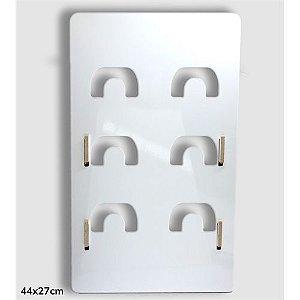 Display Expositor de Canecas Mdf 6mm Branco Resinado para Sublimação Ultra Brilho com Suporte (PH1001) - 01 Unidade
