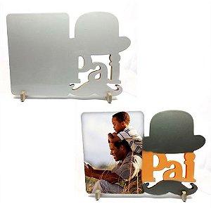 Porta Retrato Papai Bigode Mdf 6mm Branco Retangular Resinado para Sublimação Ultra Brilho com Suporte (PH1402) - 01 Unidade