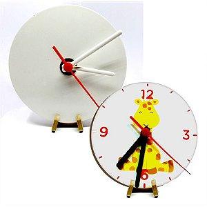Relógio Redondo Mdf 6mm Branco Resinado para Sublimação Ultra Brilho 15x15cm com Suporte (PH1504) - 01 Unidade
