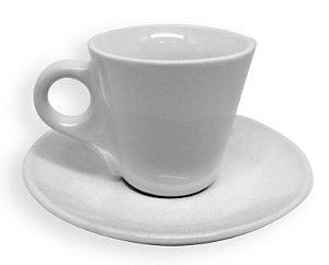 Kit Xícara de Café Cerâmica Cônica Branca 88ml Resinada para Sublimação com Pires (ShopVirtua3000®) (1974) - 01 Unidade