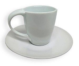 Kit Xícara de Café Cerâmica Mod Lynmouth Branca 88ml Resinada para Sublimação com Pires (ShopVirtua3000®) (001975) - 01 Unidade