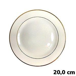 Prato Sublimático Branco Com Borda Dourada - 20cm (B050) - 01 Unidade
