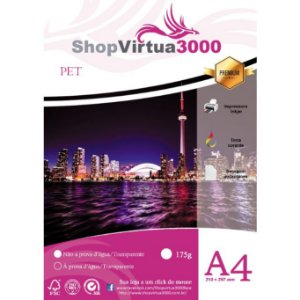 Adesivo Transparente Vinil PET A4 (Jato de Tinta/Corante) - (P039) - 100 Folhas