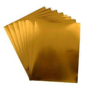 Adesivo Vinil Pet Metalizado Dourado A4 (P053) - 20 Folhas