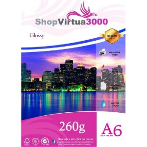 Papel Glossy 260g 10x15 cm A6 Quality (P035) - 100 folhas