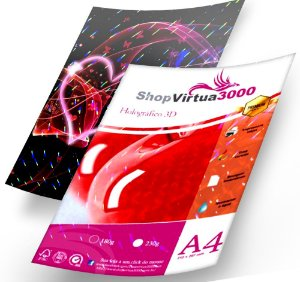 Papel Foto Glossy 3D Pontilhado Holográfico 230g - A4 Quality (P085) - 20 Folhas