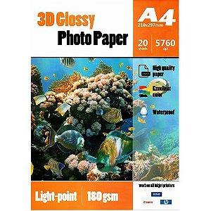 Papel Foto Glossy 3D Pontilhado Holográfico A4 180g - Caixa Fechada (60 Packs de 20 unidades) (P071)