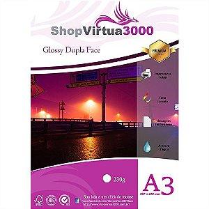 Papel Fotográfico Glossy Dupla Face (resistente à água apenas p/ tintas corantes) 230g/m² - A3 (P036) - 100 folhas