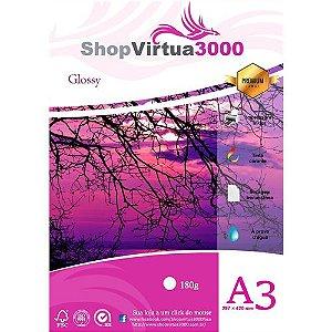 Papel Fotográfico Glossy Quality (resistente à água apenas p/ tintas corantes) 180g/m² (P004) - A3 (297mmx420mm) - 20 folhas