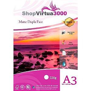Papel Fotográfico Matte Dupla Face Quality (resistente à água apenas p/ tintas corantes) 220g/m² - A3 (P068) - 20 Folhas