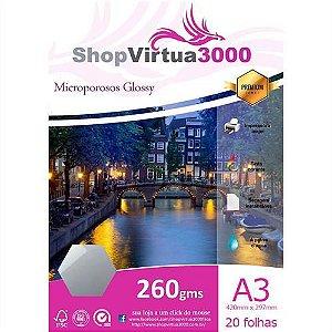 Papel Fotográfico Microporus Glossy (Tinta Pigmentada) 260g/m² - A3 - 20 Folhas (P069)