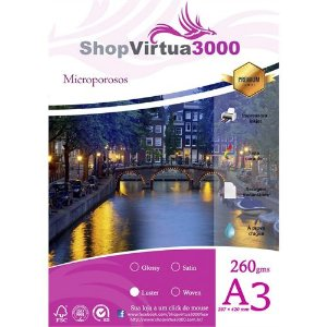 Papel 260g Microporoso Luster Fosco A3 - 20 Folhas (P049)