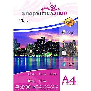 Papel Fotográfico Glossy Quality (resistente à água apenas p/ tintas corantes) 180g/m² - A4 (P003) - 100 folhas