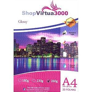 Papel Fotográfico Glossy Quality (resistente à água apenas p/ tintas corantes) 260g/m² - A4 (P006) - 20 folhas