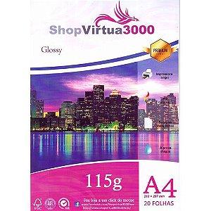 Papel Fotográfico Quality Glossy (resistente à água apenas p/ tintas corantes) 115g/m² (P001) - A4 (210mmx297mm) - 100 folhas
