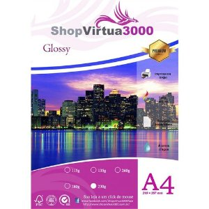 Papel Fotográfico Glossy (resistente à água apenas p/ tintas corantes) 230g/m² - A4 (210mmx297mm) - 20 folhas (P005)