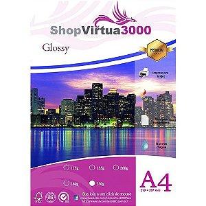 Papel Fotográfico Glossy (resistente à água apenas p/ tintas corantes) 230g/m² - A4 (210mmx297mm) - 100 folhas (P005)