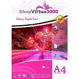 Papel Fotográfico Glossy Dupla Face (resistente à água apenas p/ tintas corantes) 120g/m² - A4 (P045) - 20 folhas