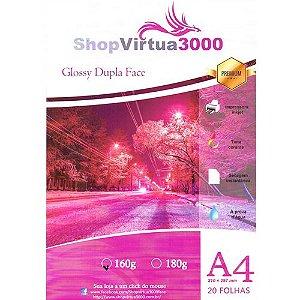 Papel Fotográfico Glossy Dupla Face (resistente à água apenas p/ tintas corantes) 160g/m² - A4 (210mmx297mm) - 20 folhas (P007)