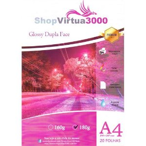 Papel Fotográfico Glossy Dupla Face (resistente à água apenas p/ tintas corantes) 180g/m² - A4 - 20 folhas (P008)