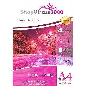 Papel Fotográfico Glossy Dupla Face (resistente à água apenas p/ tintas corantes) 180g/m² - A4 - 100 folhas (P008)
