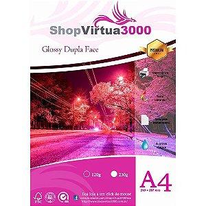 Papel Fotográfico Glossy Dupla Face Quality (resistente à água apenas p/ tintas corantes) 230g/m² - A4 (P009) - 20 folhas
