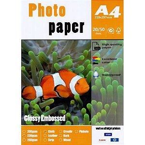 Papel Fotográfico Texturizado Linho Glossy A4 230g (P018) - 20 Folhas