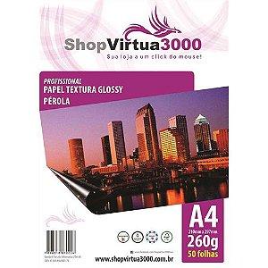 Papel Fotográfico Texturizado Pérola Glossy A4 260g - 50 Folhas
